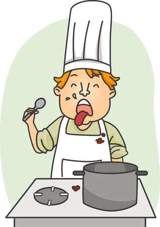 disgust: Illustration of a Chef Expressing Disgust Stock Photo