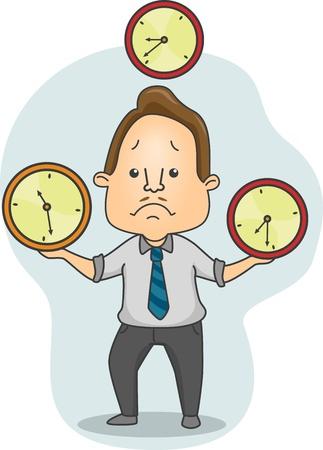 pressured: Illustration of a Man Juggling Time