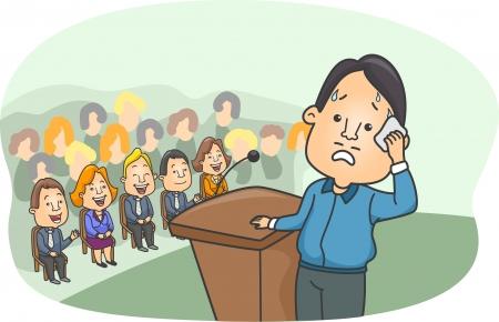hablar en publico: Ilustración de un hombre que muestra signos de miedo escénico Imaginando La gente se reía de él