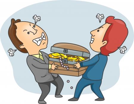 Illustration of Men Fighting Over a Treasure Chest Stock Illustration - 14039344