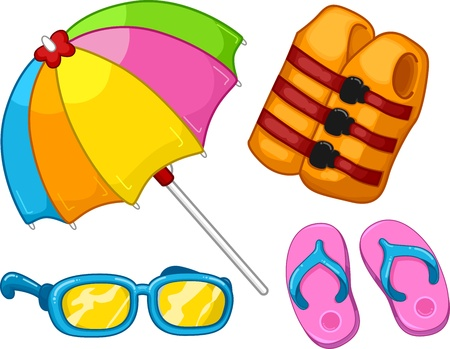 swimming goggles: Illustration Featuring Beach Related Items