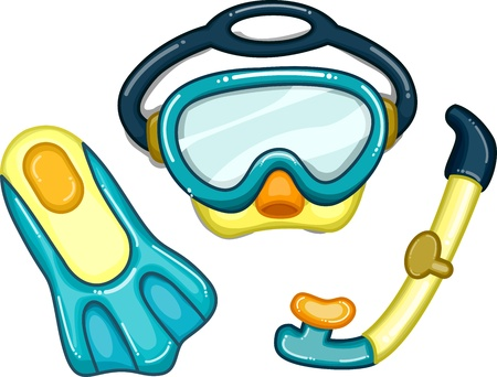 swimming goggles: Illustration Featuring Diving Related Items
