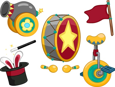 unicycle: Illustration Featuring Circus Related Items
