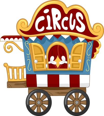 cartoon circus: Illustration of a Circus Caravan Stock Photo