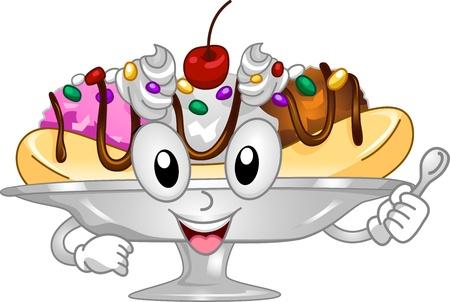 frozen treat: Mascot Illustration Featuring a Serving of Banana Split