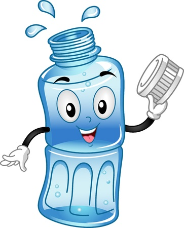 drinking water: Mascot Illustration Featuring a Water Bottle Stock Photo