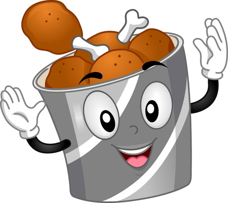 Mascot Illustration Featuring a Chicken Bucket