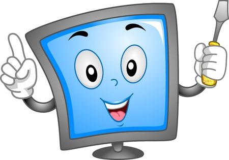 computer repair: Mascot Illustration Featuring a Computer Monitor