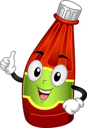 salsa de tomate: Ilustración Mascota Con una botella de ketchup Foto de archivo