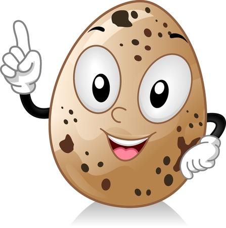 huevos de codorniz: Mascota ilustraci�n que ofrece un huevo de codorniz Foto de archivo