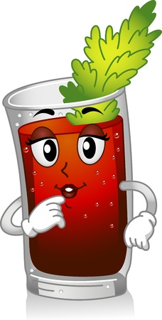 bloody mary: Mascot Illustration Featuring a Glass of Bloody Mary