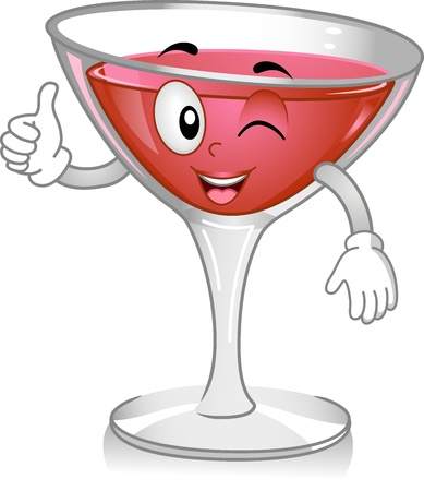refreshments: Mascot Illustration Featuring a Cosmopolitan Cocktail