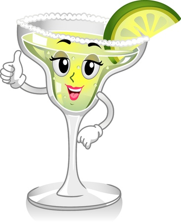 Mascot Illustration Featuring a Glass of Margarita illustration
