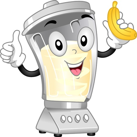 smoothie: Mascot Illustration Featuring a Blender Preparing a Banana Shake