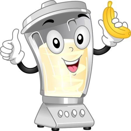 fruit clipart: Mascot Illustration Featuring a Blender Preparing a Banana Shake