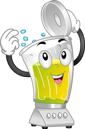 blender: Mascot Illustration Featuring a Blender Putting Ice on Itself