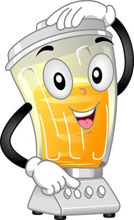 licuadora: Mascota ilustraci�n que ofrece un mezclador