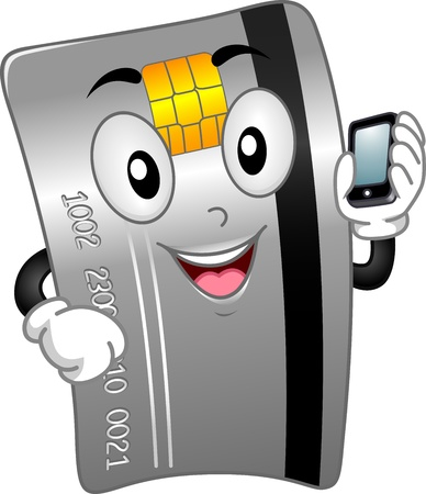 Mascot Illustration Featuring a Credit Card Holding a Mobile Phone Stock Photo