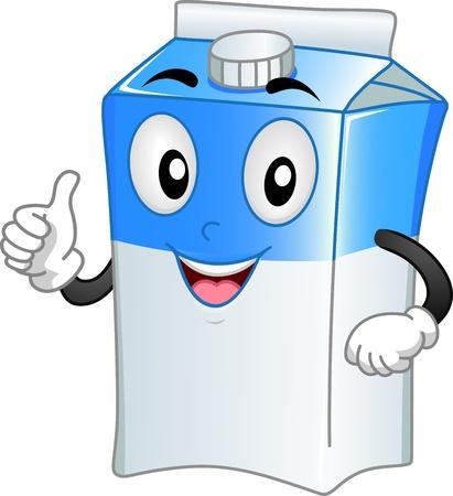 carton de leche: Ilustración Mascota Con un cartón de leche