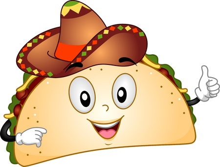 diet cartoon: Mascot Illustration Featuring a Taco