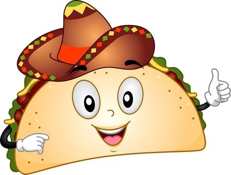 caricatura mexicana: Mascota ilustraci�n que ofrece un Taco