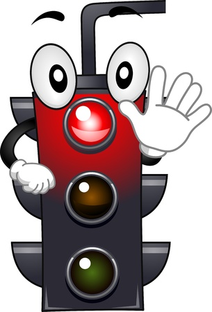 stop gesture: Mascot Illustration Featuring a Stop Light