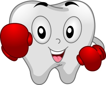 tooth decay: Mascot Illustration of a Tooth Dressed Like a Boxer
