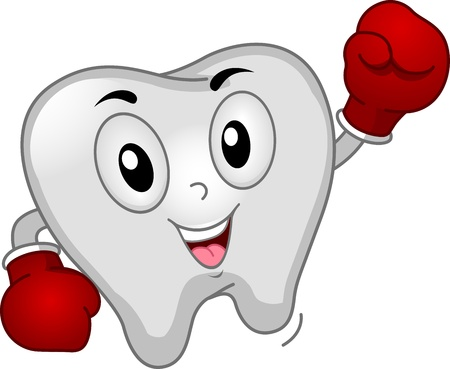 Mascot Illustration of a Tooth Dressed Like a Boxer illustration