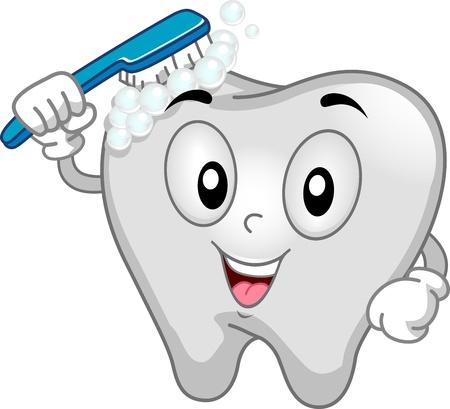 dientes caricatura: Ilustración Mascota Con un cepillado de dientes sí mismo