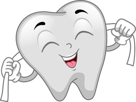 Mascot Ilustración con un hilo dental Diente