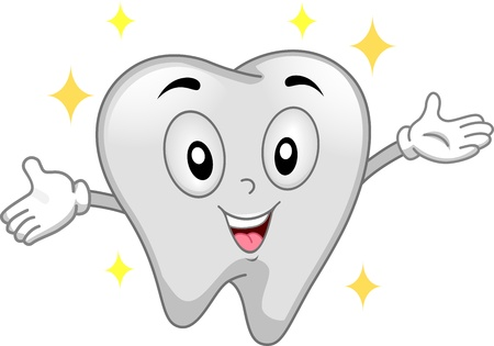 Mascot Illustration Featuring a Shiny Tooth