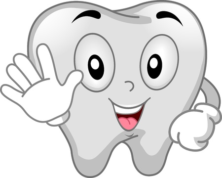 Mascot Illustration Featuring a Tooth Using the Stop Signal Stock Illustration - 14182540