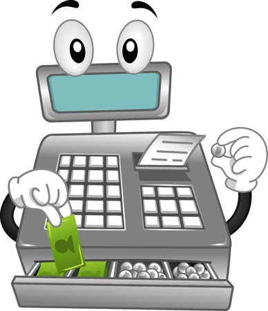 register: Mascot Illustration Featuring a Cash Register