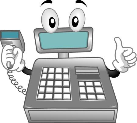 caja registradora: Mascota ilustraci�n que ofrece una caja registradora