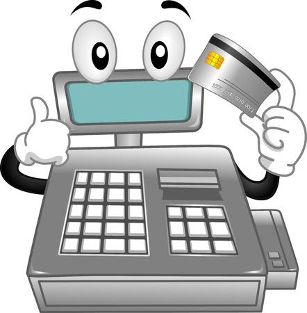 caja registradora: Mascota ilustración que ofrece una caja registradora