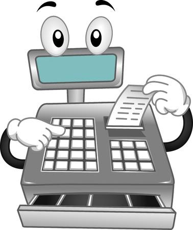maquina registradora: Mascota ilustraci�n que ofrece una caja registradora Impresi�n de un recibo Foto de archivo