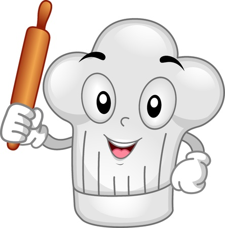 Mascot Illustration Featuring a Toque Holding a Rolling Pin Stock Photo