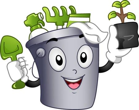 Mascot Illustration Featuring a Bucket Full of Gardening Tools illustration