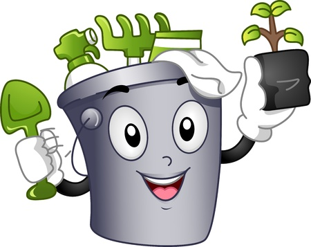 saplings: Mascot Illustration Featuring a Bucket Full of Gardening Tools