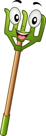 rake: Mascot Illustration Featuring a Rake Stock Photo