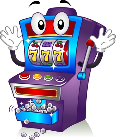 jackpot: Mascot Illustration Featuring a Slot Machine Hitting the Jackpot