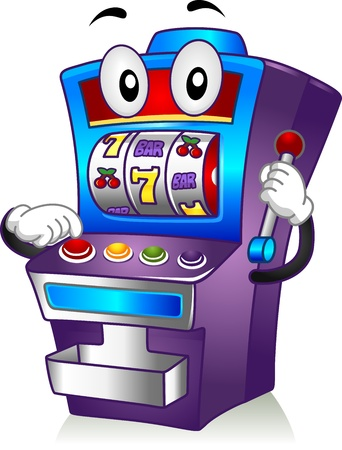 games of chance: Mascot Illustration Featuring a Slot Machine