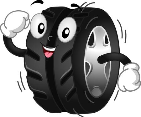 Mascot Illustration Featuring a Running Rolling Tire illustration
