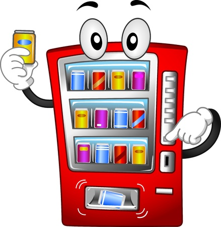 Ilustración Mascota Con una máquina expendedora