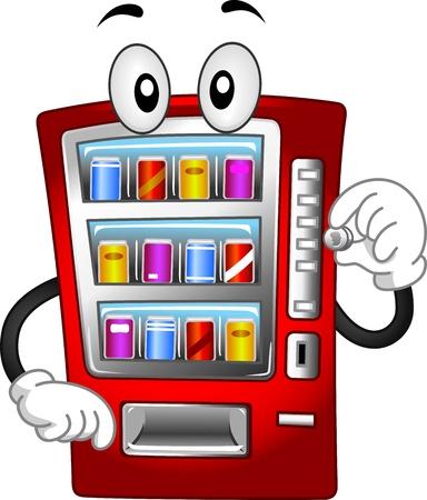 vending machine: Mascot Illustration Featuring a Vending Machine Stock Photo