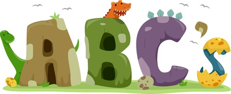 Text Illustration Featuring Dinosaurs illustration