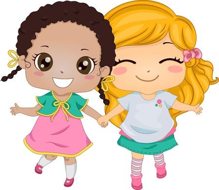 mejores amigas: Ilustración Con Dos Chicas Agarrados de la mano mientras caminaba