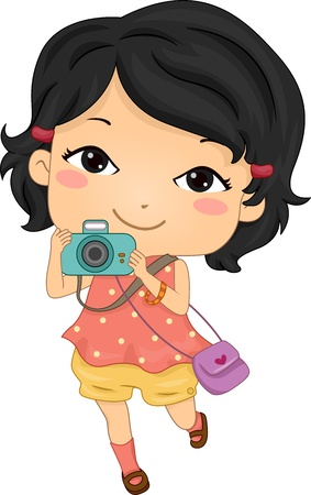 asian lifestyle: Illustration Featuring an Asian Tourist Holding a Camera Stock Photo