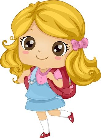 sac d ecole: Illustration Avec Une jeune fille portant un sac � dos Banque d'images