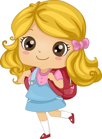 cartoon school girl: Ilustraci�n que ofrece una chica que lleva una mochila